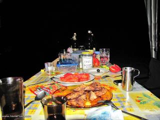 Петъчна снимка с ядене и пиене